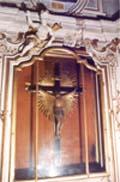 Crocifisso in legno di fine '700 con raggiera in legno dorato